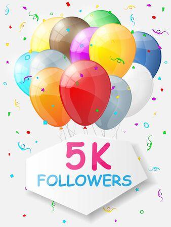 followers: Milestone 5000 Followers. Background with balloons. illustration Illustration