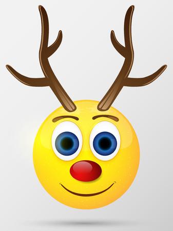 Reindeer emoticon, emoji, smiley Illustration