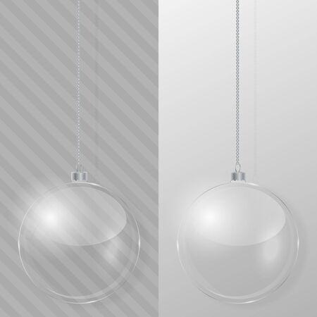 Glass Christmas ball. Design template. Illustration