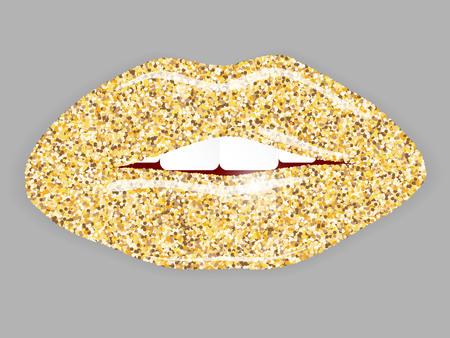 Open Mouth with gold lips. Vektorové ilustrace