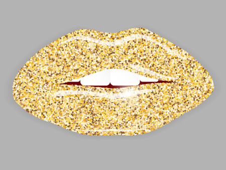 Open Mouth with gold lips. Illustration