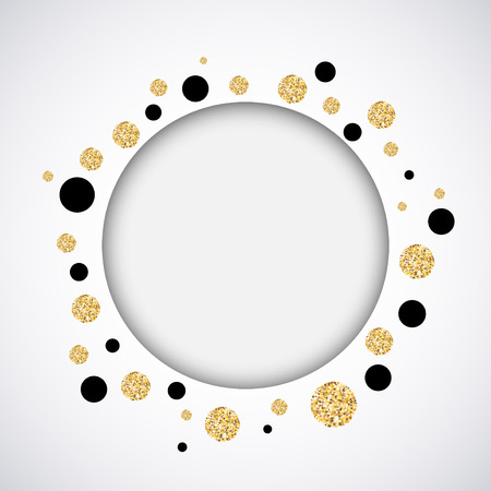 Background with black and gold glittering circles . Vector illustration.