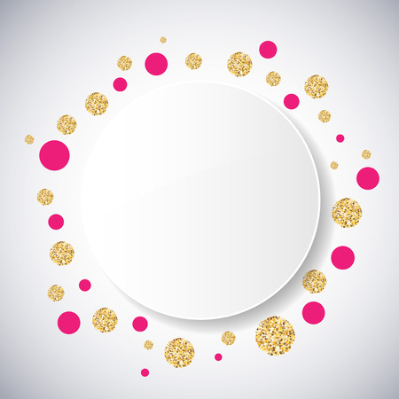 Background with pink and gold glittering circles . Vector illustration.