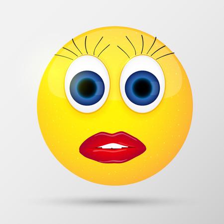 Cute sexual girl emoticon. Vector illustration.