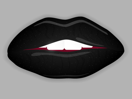 Open Mouth with black lips. Vector illustration.
