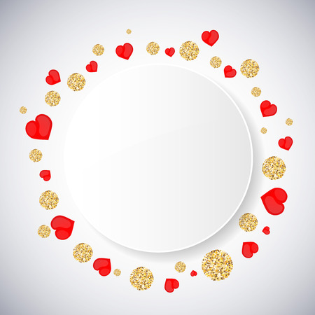 Background with heart and gold glittering circles . Vector illustration.