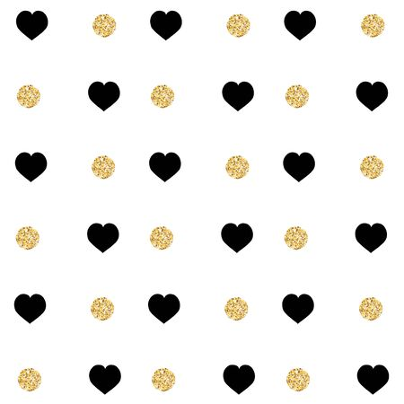 Background with black heart and gold glittering circles .