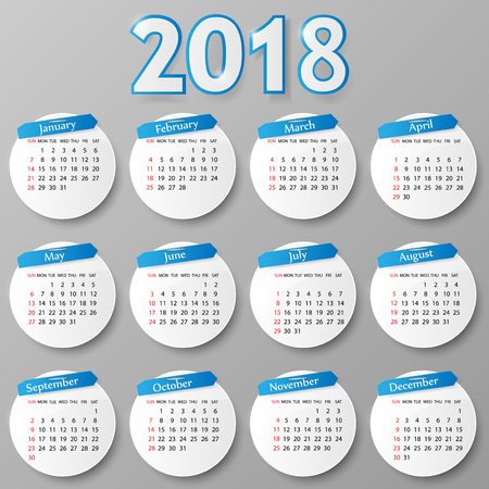 2018 year calendar design. Vector illustration