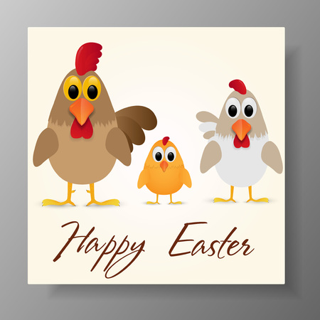 Happy Easter Greeting Card with chicken family. Vector illustration.
