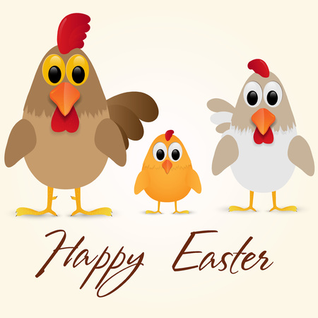 Decorative design of a Happy Easter Greeting Card with chicken family. Vector illustration.