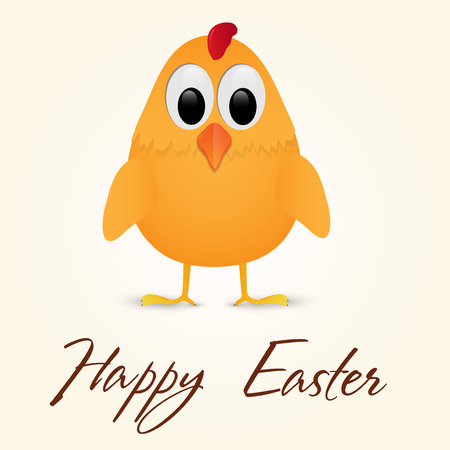 Decorative design of a  Happy Easter Greeting Card with lonely chicken. Vector illustration.