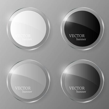 Glass banner set. Vector illustration. Illustration