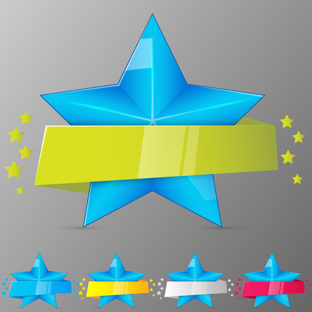 Set of blue stars with ribbons. Collection for game, banner, app, ui. Vector illustration. Illustration