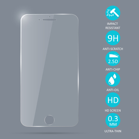 Glass screen protector for smartphone. Vector illustration.