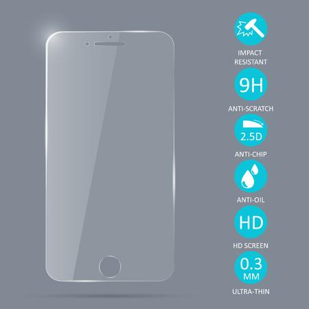 Protector de pantalla de vidrio para teléfono inteligente. Ilustración vectorial Foto de archivo - 88904086