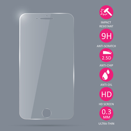 Glass screen protector for smartphone. Vector illustration. Imagens - 88904088