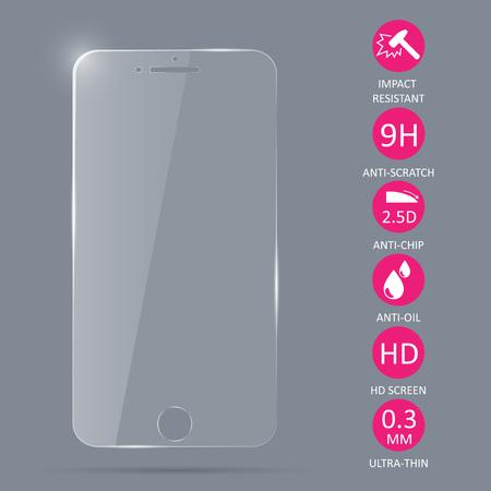 Glazen schermbeschermer voor smartphone. Vector illustratie.