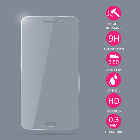 Protector de pantalla de vidrio para teléfono inteligente. Foto de archivo - 89284490
