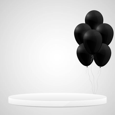 White podium with black hellium balloons. Design template. Vector illustration. Ilustração