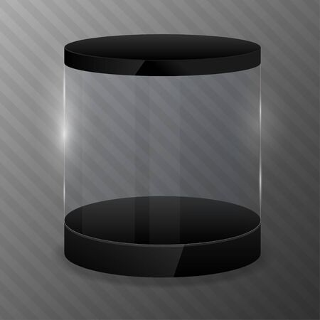 Glass cylinder with black podium. Design template.