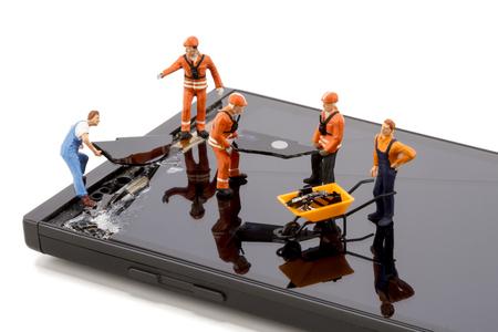 Elektronicareparatie - Reparatie van smartphonescherm Stockfoto