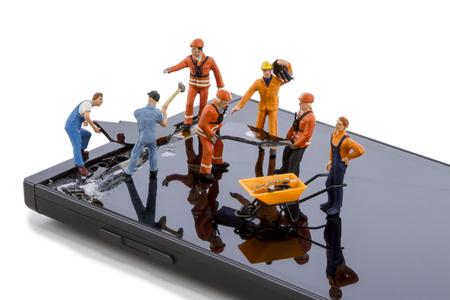 Electronics repair - smartphone screen repair 스톡 콘텐츠