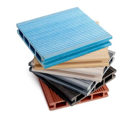 wood-plastic composites material for the construction of terraces Stock Photo