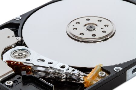 Disassembled hdd disk 2.5 isolated on white background Banco de Imagens