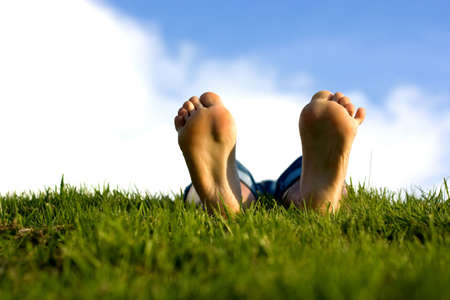 Feets on grass Stock Photo - 1354538