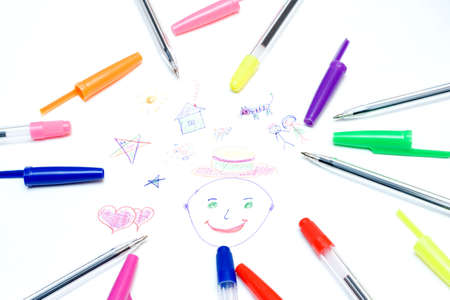 Child paintings and colored pens. Stock Photo - 1357825