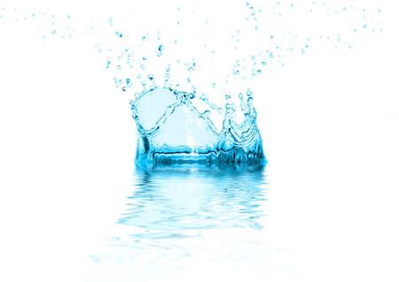 Frozen water drop. Water splash. Water sparks. photo