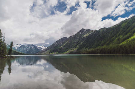 Altai Mountain. second Multi lake overlooking the mountains with snow Stock Photo