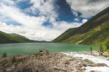 Altai Mountain. first and second Multi-Lake with blocks
