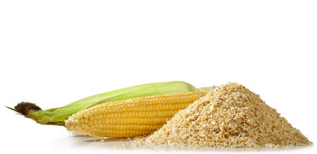 Corn mash with an open ear of fresh ripe corn on a white background