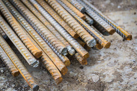 Thin metal reinforcement of a bundle at a metal products warehouse Stock Photo
