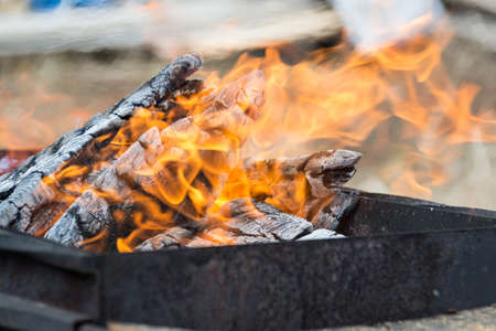 Flame of fire. Burning firewood on the grill for shish kebab. Picnic Stock Photo