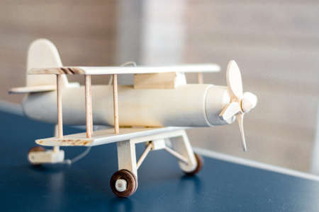 Vintage wooden airplane model. Retro style. Game model Banco de Imagens