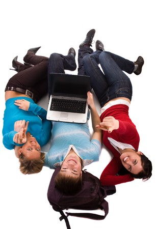 homestudy: group of students having fun, laying on white, doing home work