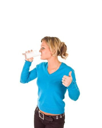 milk mustache: young beautiful girl drinking milk (isolated on white) Stock Photo
