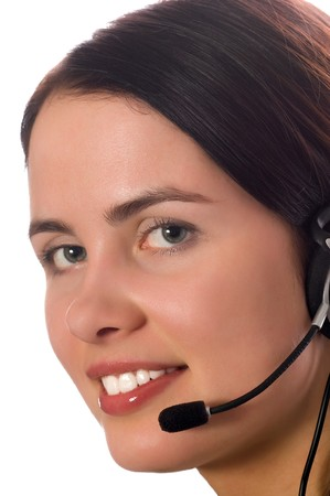 hotline operator with headset isolated on white Stock Photo - 4240306