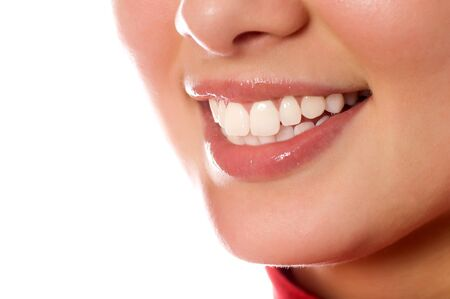 smiling young girl mouth with great teeth (isolated on white) Stock Photo - 4240191