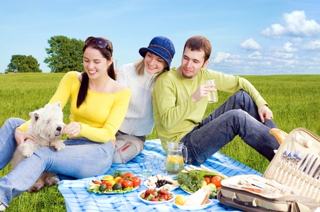 three friends with little white dog at picnic Stock Photo - 4240767