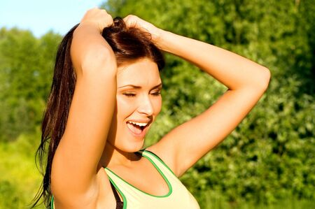 Young beautiful girl having fun outdoors Stock Photo - 4281948