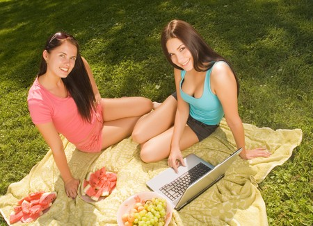 Two beautiful student girl outdoors Stock Photo - 4282010
