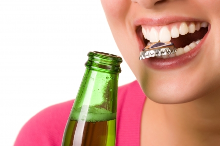 open  women: Smiling young woman with bottel of beer Stock Photo