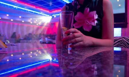 Young beautiful woman in the nightclub Stock Photo - 4281876