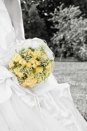 eligible: Sposa con bouquet da sposa Archivio Fotografico