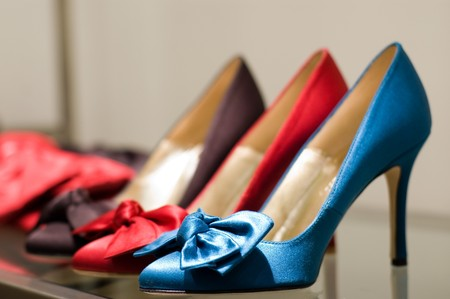 shoe shelf: Shoes on the store (Shallow dof) Stock Photo