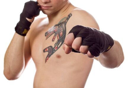 forearms: Street fighter isolated on white (focus on fist)