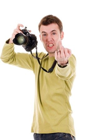 Angry man with camera Stock Photo - 4510669